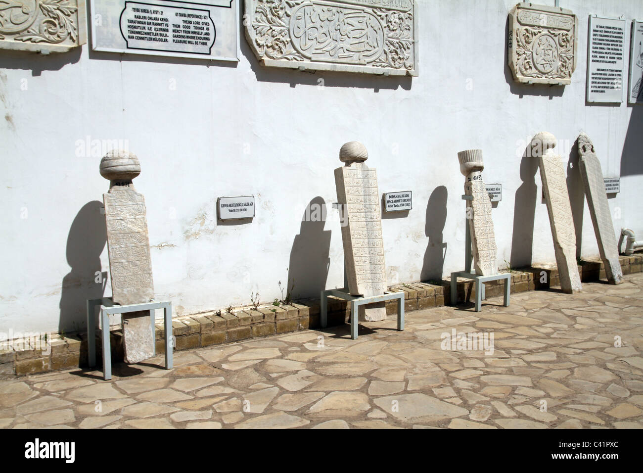 Gravestones of Sufi Dervish tombs in the Turkish occupied section of Nicosia in Cyprus - Stock Image