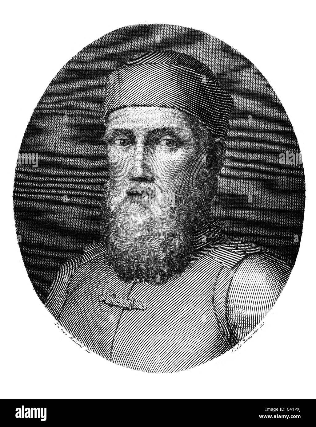 Pisani, Vettor, 1324 - 1380, Venetian  admiral, portrait, copper engraving by Carlo Rampoldi, after Teodore Matteini, - Stock Image