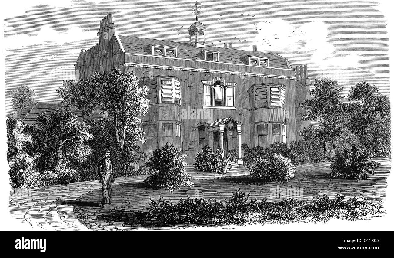 Dickens, Charles, 7.2.1812 - 9.7.1870, British author / writer, his house Gads Hill Place near Rochester, wood engraving, - Stock Image