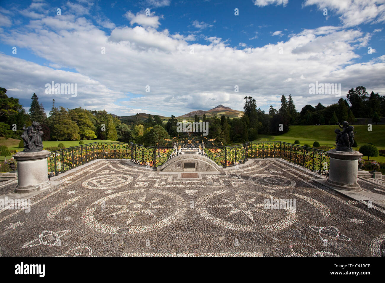 The gardens and forecourt of Powerscourt House, Enniskerry, County Wicklow, Ireland. - Stock Image