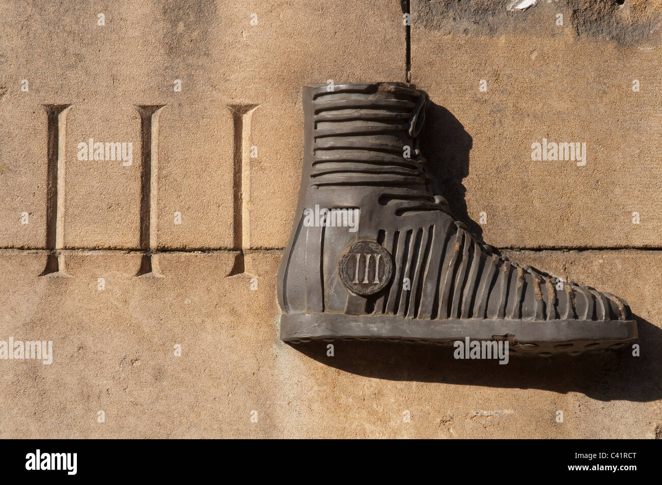 Detail on the site of the Roman Fort in the Castlefield area of Manchester. - Stock Image