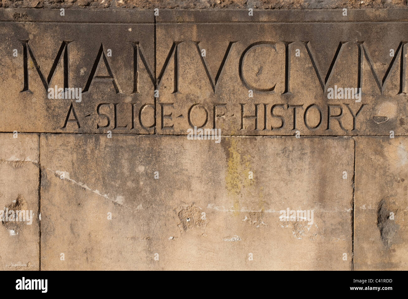The Roman name for Manchester,Mamucium, carved in stone at the site of the Roman Fort in the Castlefield area of - Stock Image