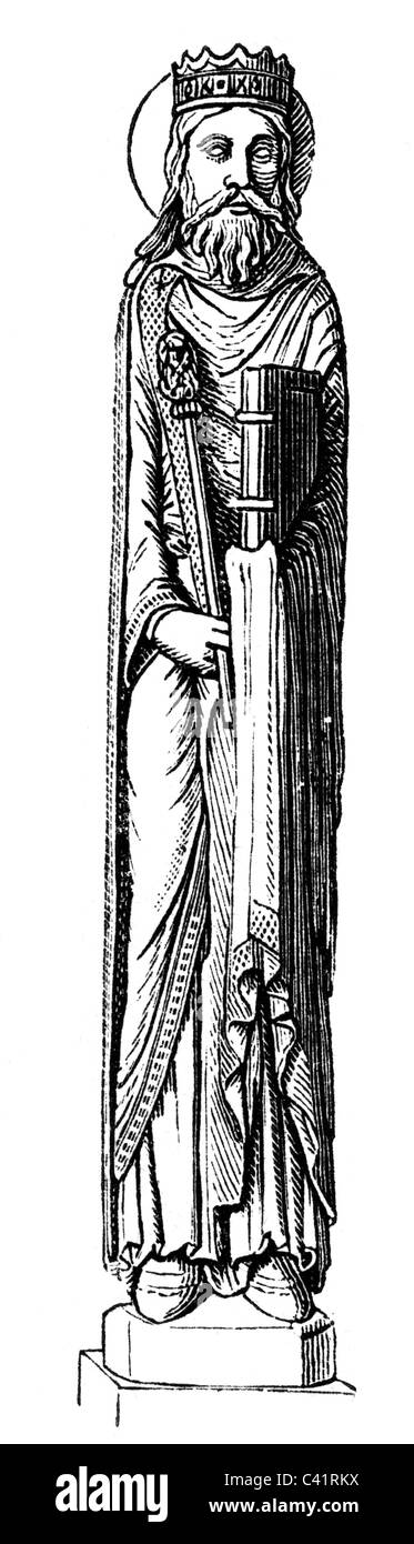 Clovis I, circa 466 - 27.11.511, King of the Franks 482 - 511, full length, wood engraving after statue, 19th century, - Stock Image