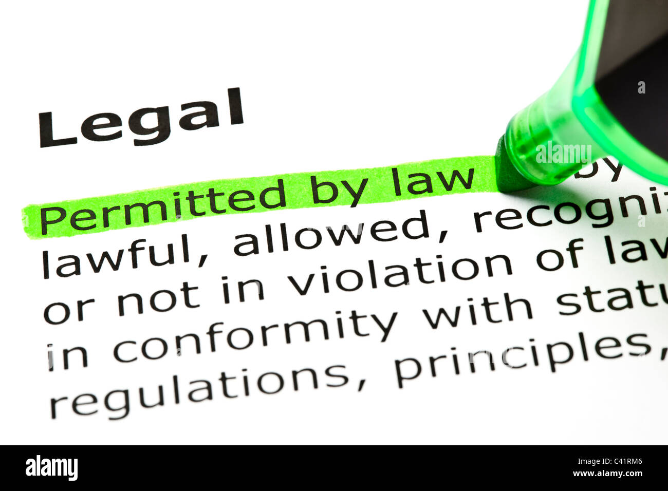 'Permitted by law' highlighted in green, under the heading 'Legal' - Stock Image