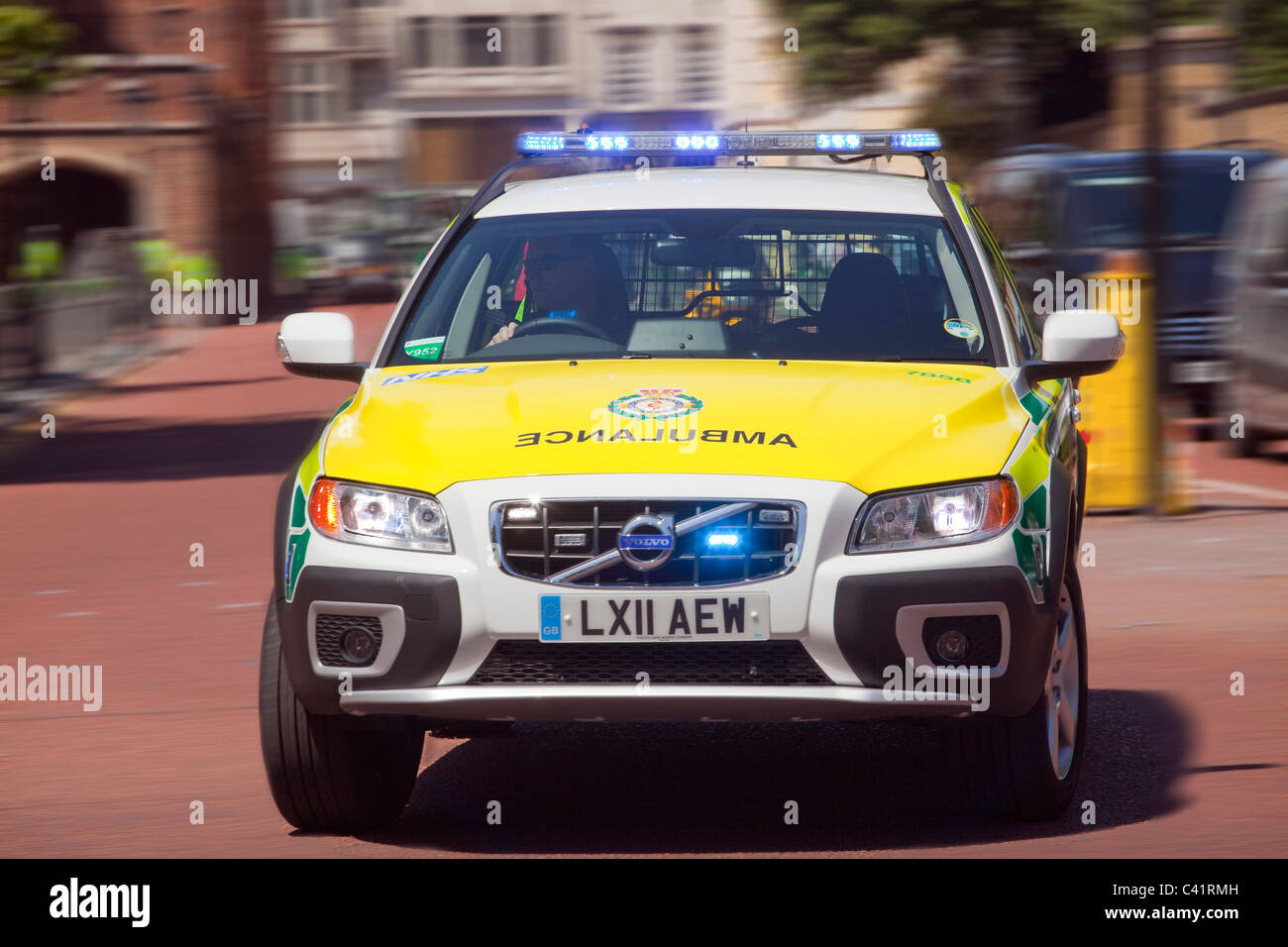 Emergency Ambulance speeding to an accident - Stock Image