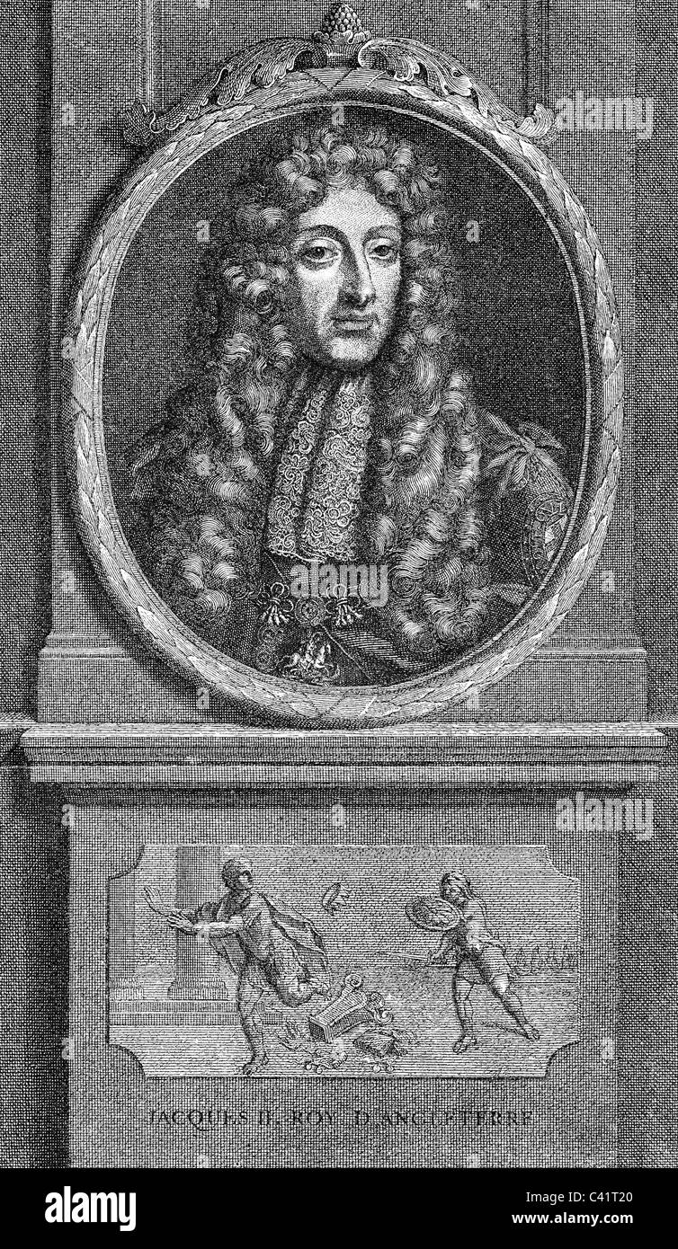 James II, 24.10.1633 - 17.9.1701, King of England 6.2.1685 - 11.12.1688, portrait, below: his flight, copper engraving - Stock Image