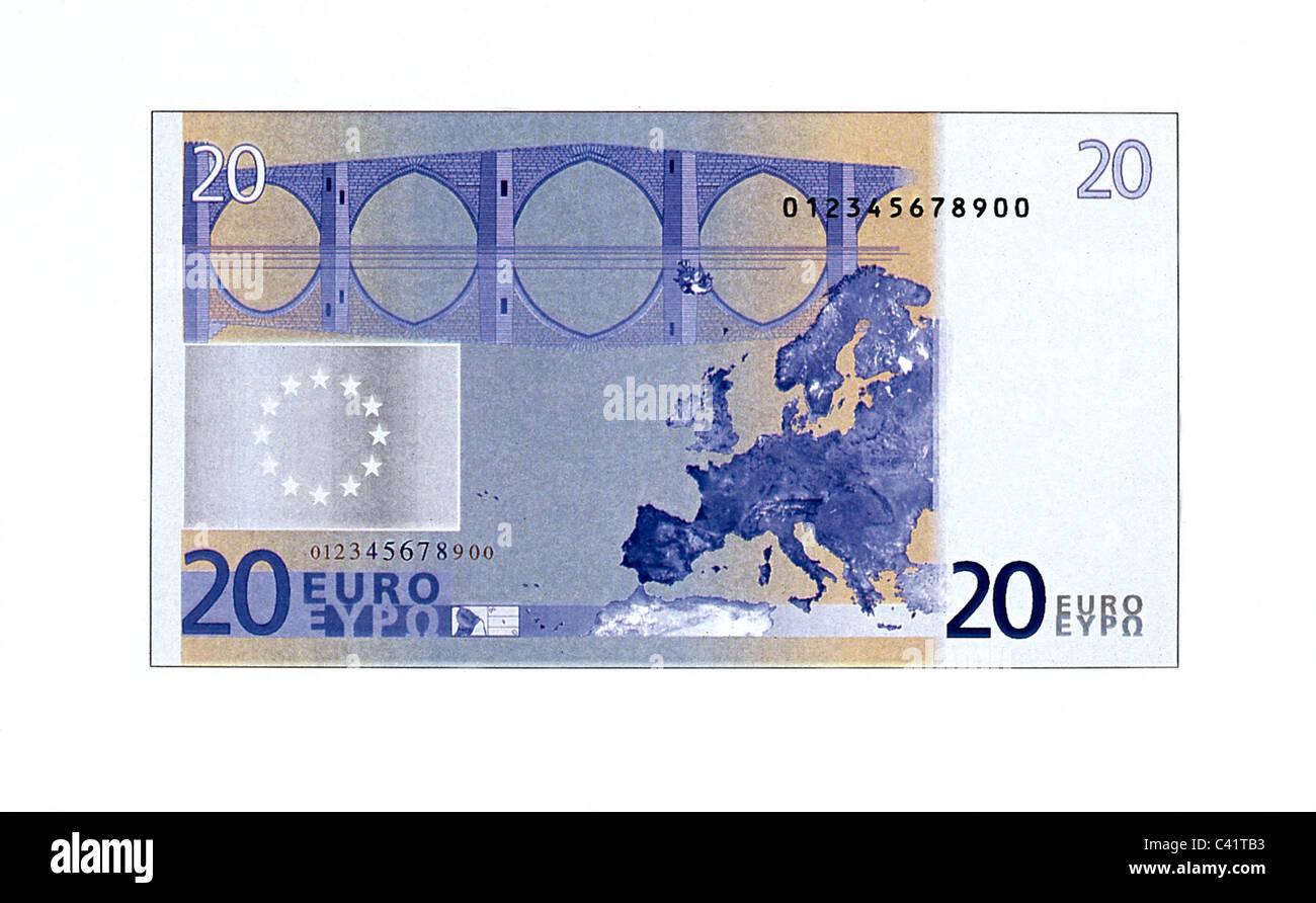 money, banknotes, euro, 20 euro bill, reverse, banknote, bank note, bill, bank notes, banknote, bank note, bill, - Stock Image