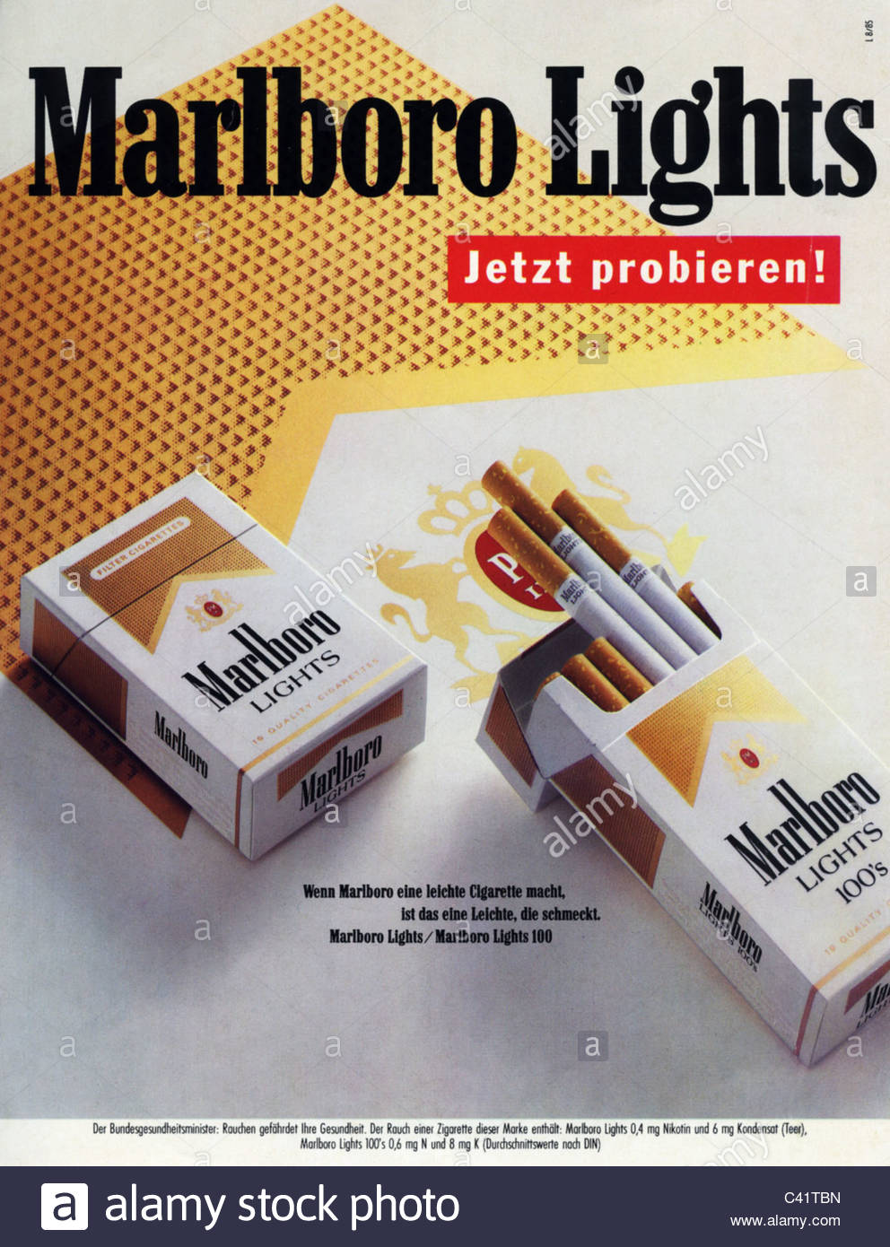 Advertising Tobacco Cigarettes Marlboro Lights Advert Published In A German Magazine