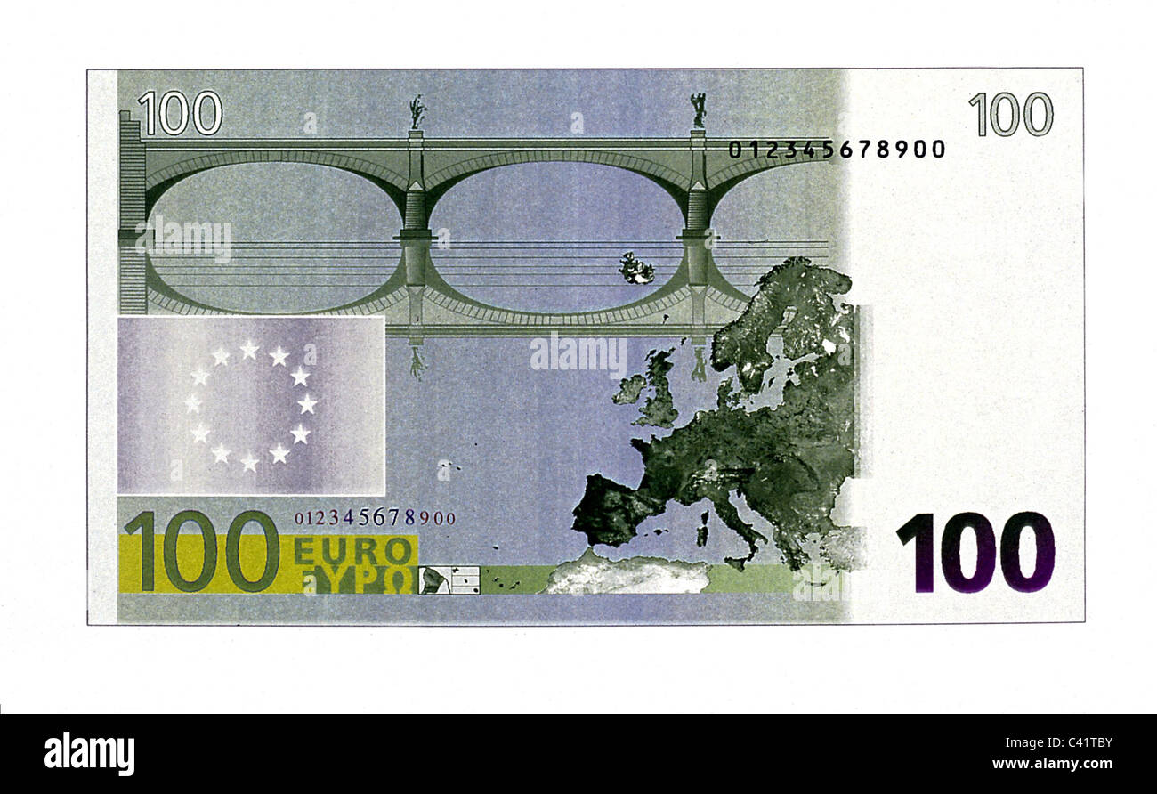 money, banknotes, euro, 100 euro bill, reverse, banknote, bank note, bill, bank notes, banknote, bank note, bill, - Stock Image