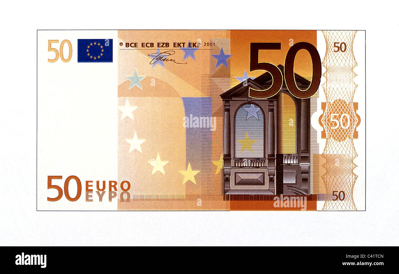 money, banknotes, euro, 50 euro bill, obverse, banknote, bank note, bill, bank notes, banknote, bank note, bill, - Stock Image