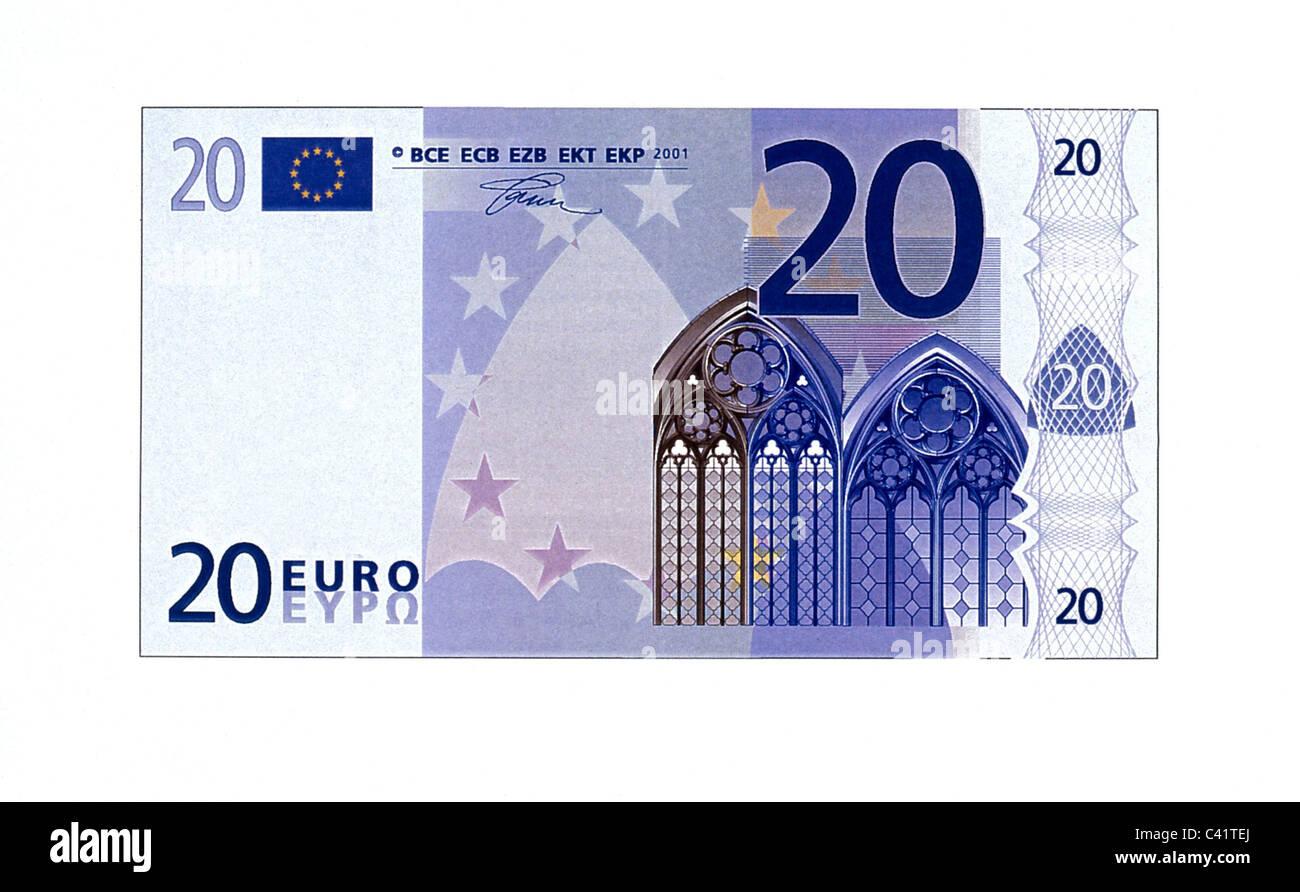 money, banknotes, euro, 20 euro bill, obverse, banknote, bank note, bill, bank notes, banknote, bank note, bill, Stock Photo