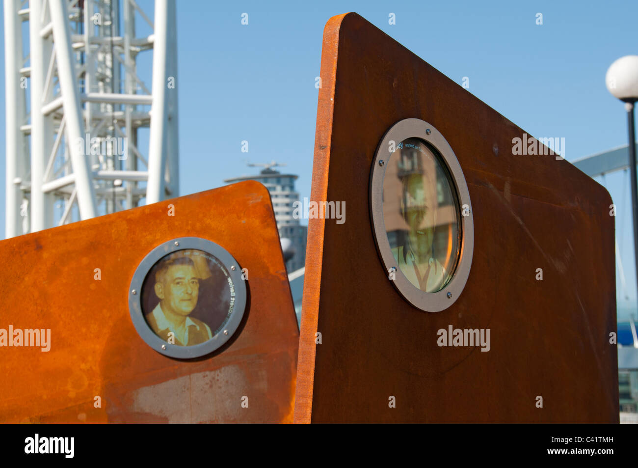 Detail from 'Casuals'.  One of the exhibits of the Unlocking Salford Quays sculpture trail. Salford, Manchester, - Stock Image