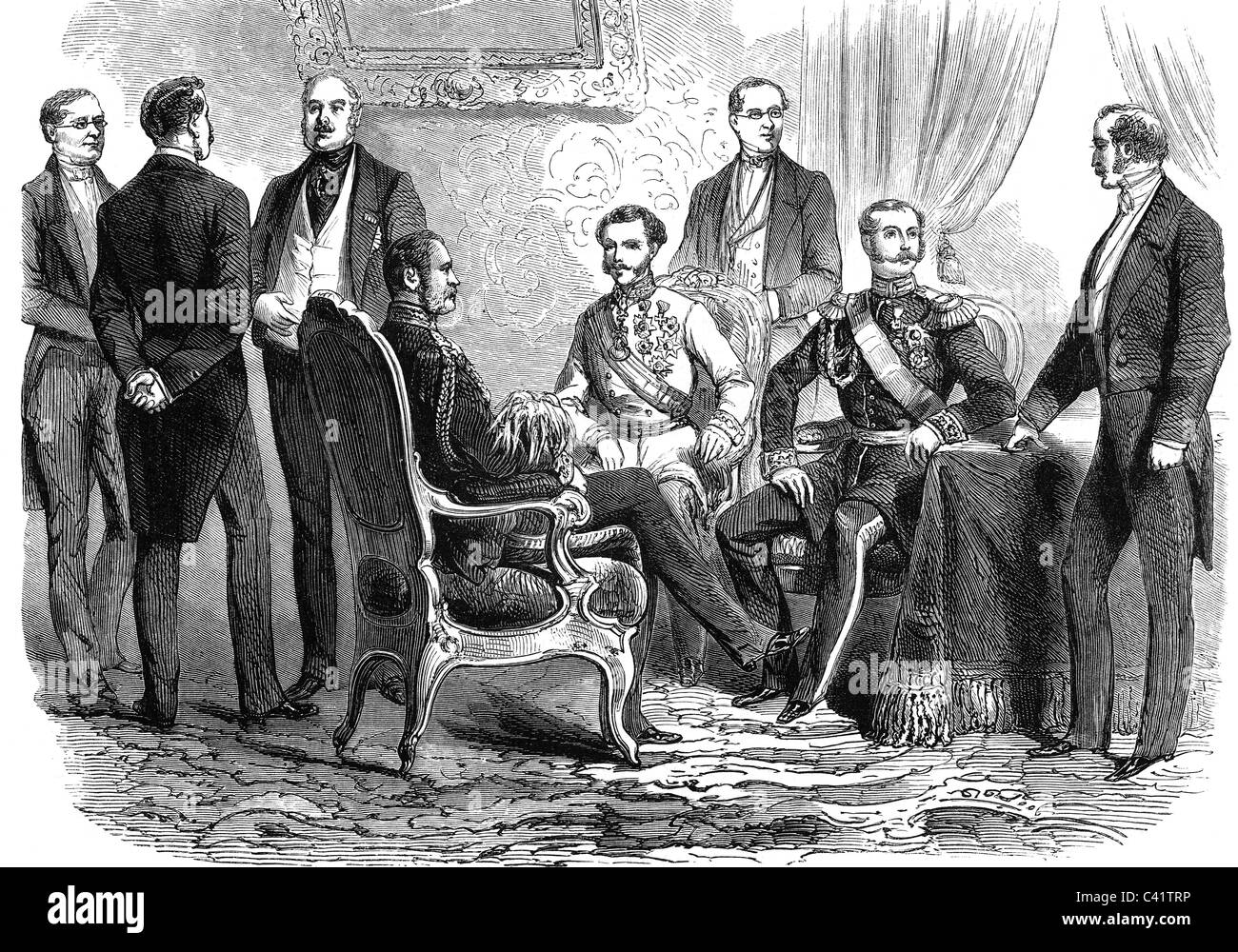 politics, conferences, Warsaw Conference 22.- 26.10.1860, meeting of the monarchs, Emperor Francis Joseph I of Austria, - Stock Image