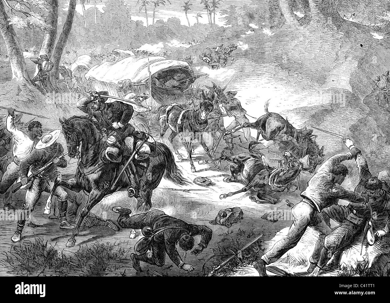 events, Ten Years War 1868 - 1878, Battle of Las Tunas, 18.8.1868, Cuban  insurgents attacking a Spanish supply train, contemporary wood engraving,  Cuba, ...