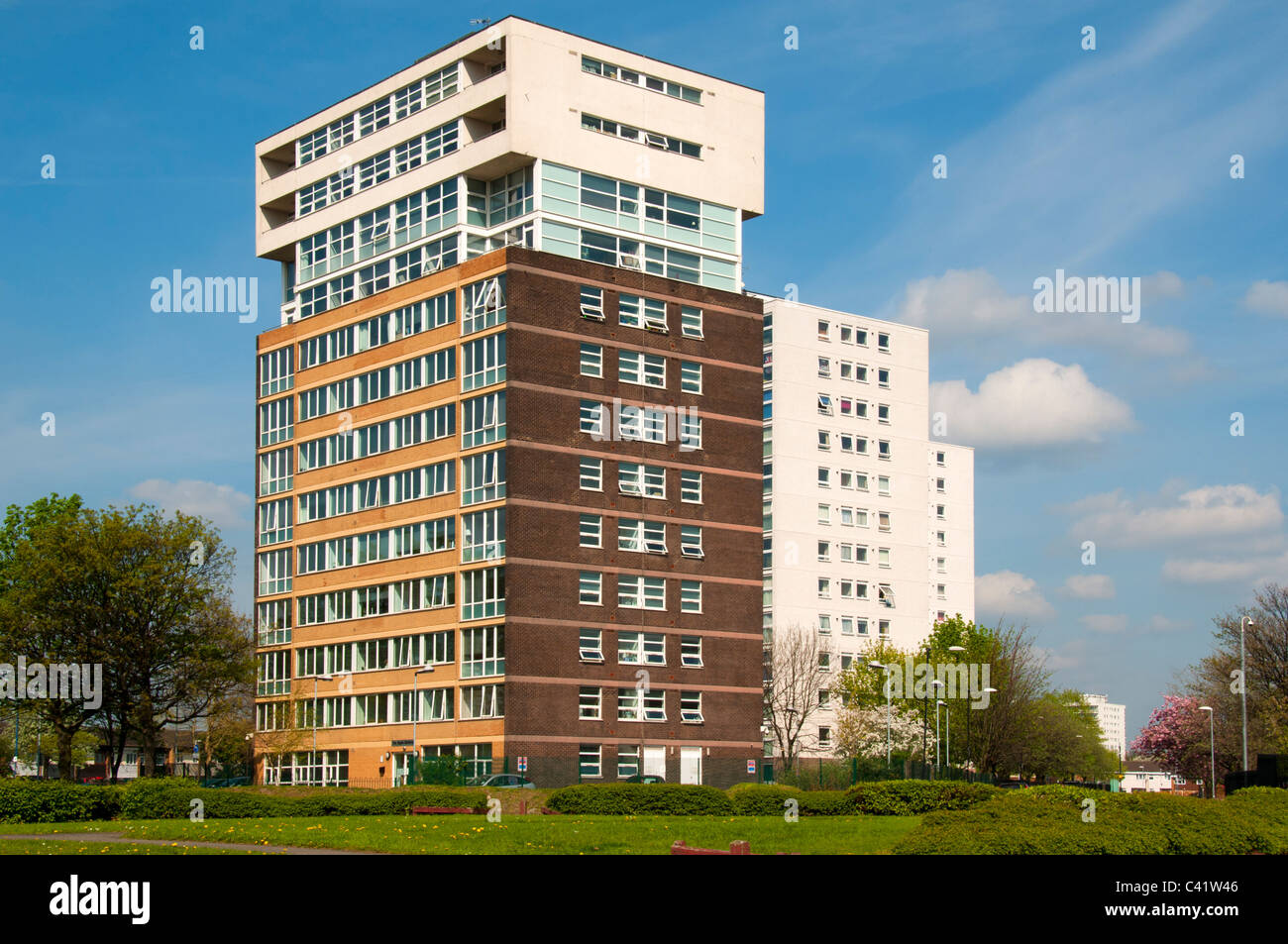 The Apple Building, Rochdale Road, Miles Platting, Manchester, England, UK.  Affordable housing for council employees. - Stock Image