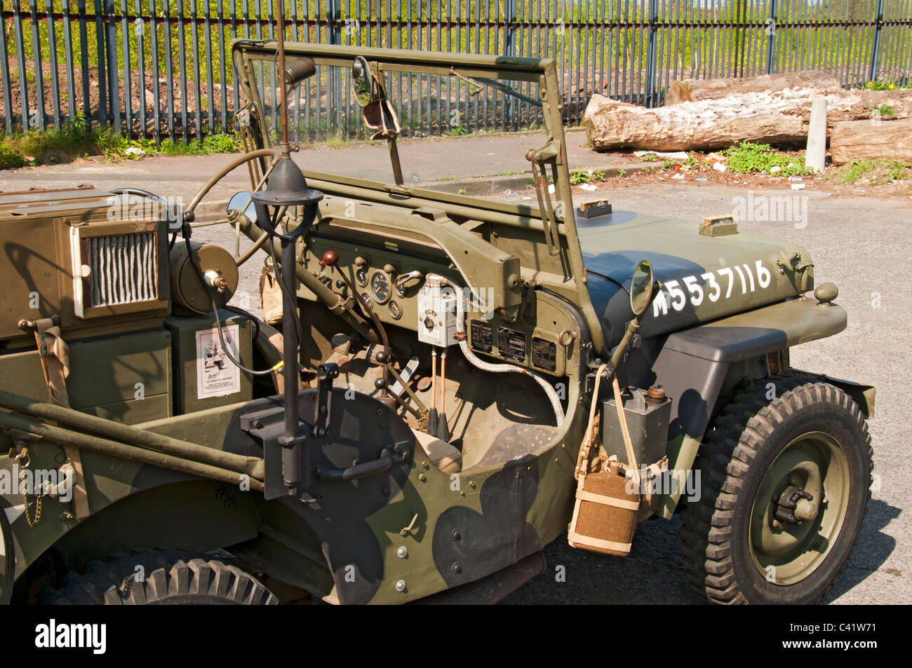 Ford Willys MB US Army Jeep, c1941-5, at a WW2 parade, Miles Platting, Manchester, England, UK - Stock Image