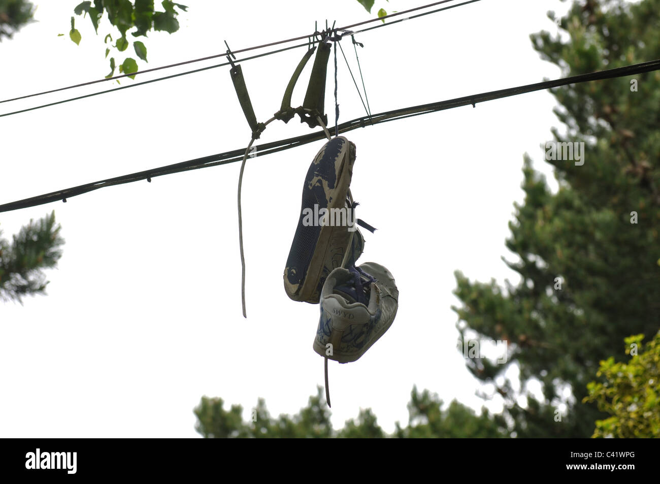 Shoes Hanging From Wires Stock Photos & Shoes Hanging From Wires ...