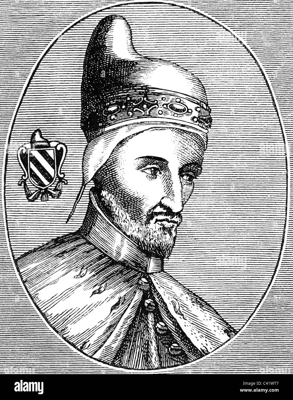 Contarini, Andrea, 1300/1302 - 5.6.1382, Doge of Venice 1368 - 1382, portrait, wood engraving, 19th century, Additional - Stock Image