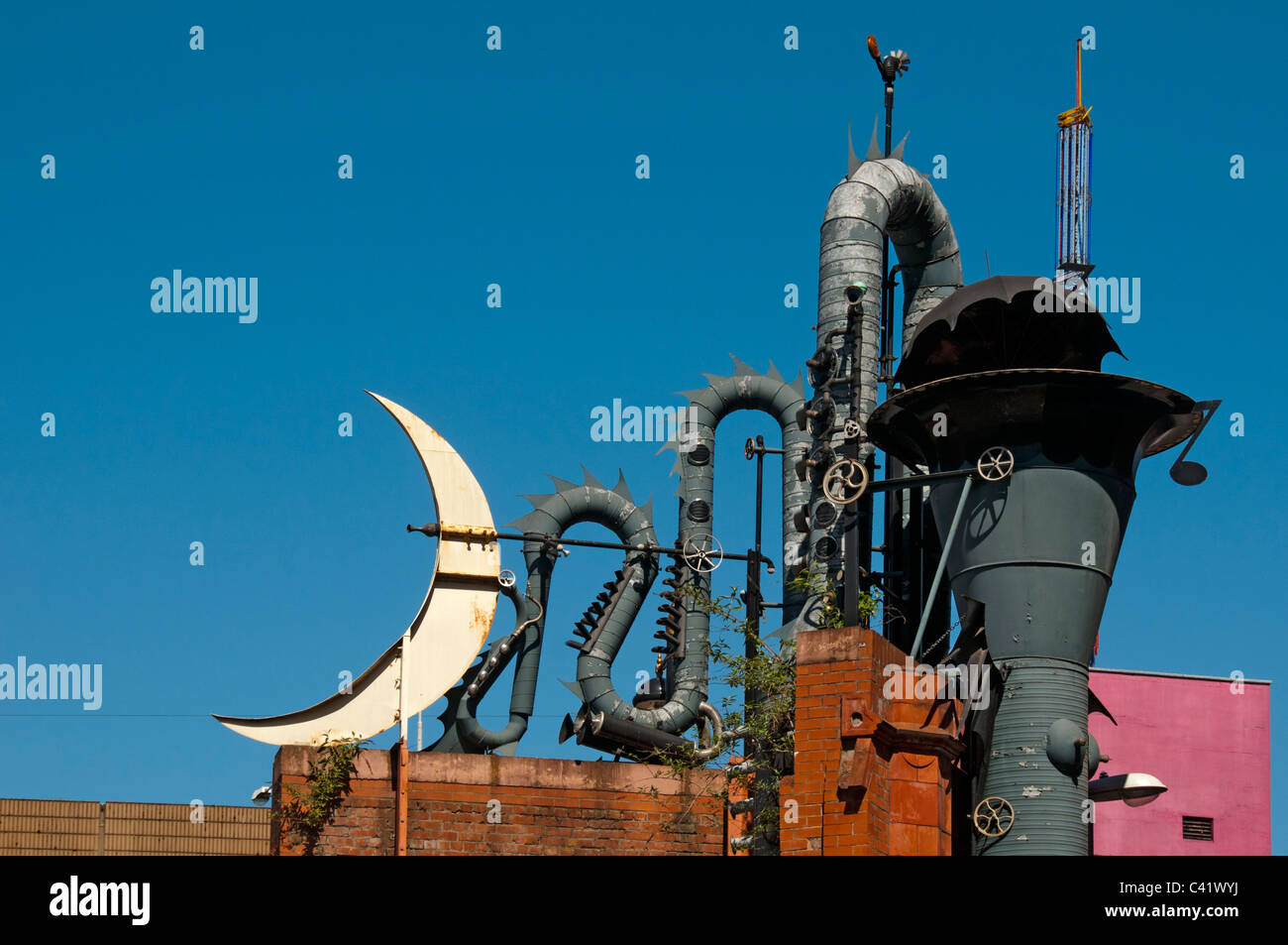 'The Tib Street Horn'.  A sculpture by David Kemp.  Northern Quarter, Manchester, England, UK - Stock Image