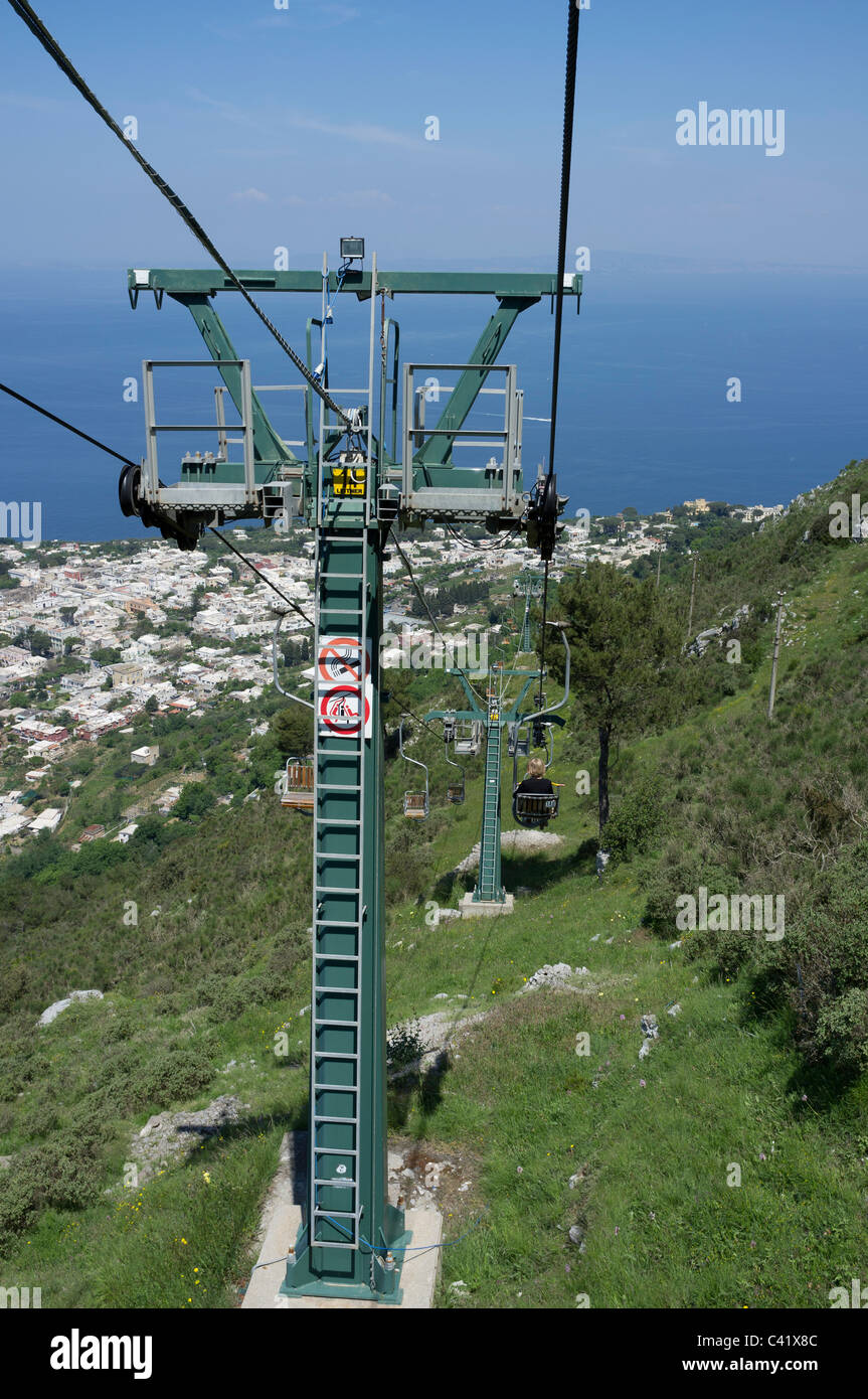 descending on the chair lift from mount solaro to anacapri stock