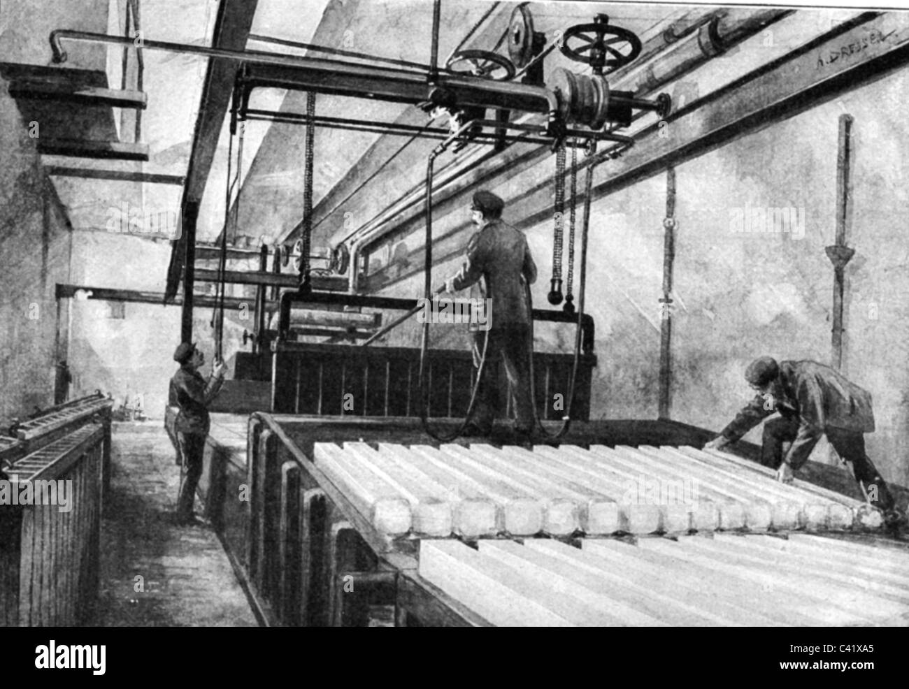 industry, ice, production of crystal ice, wood engraving, late 19th century, factory, machine, artificial ice, block, - Stock Image