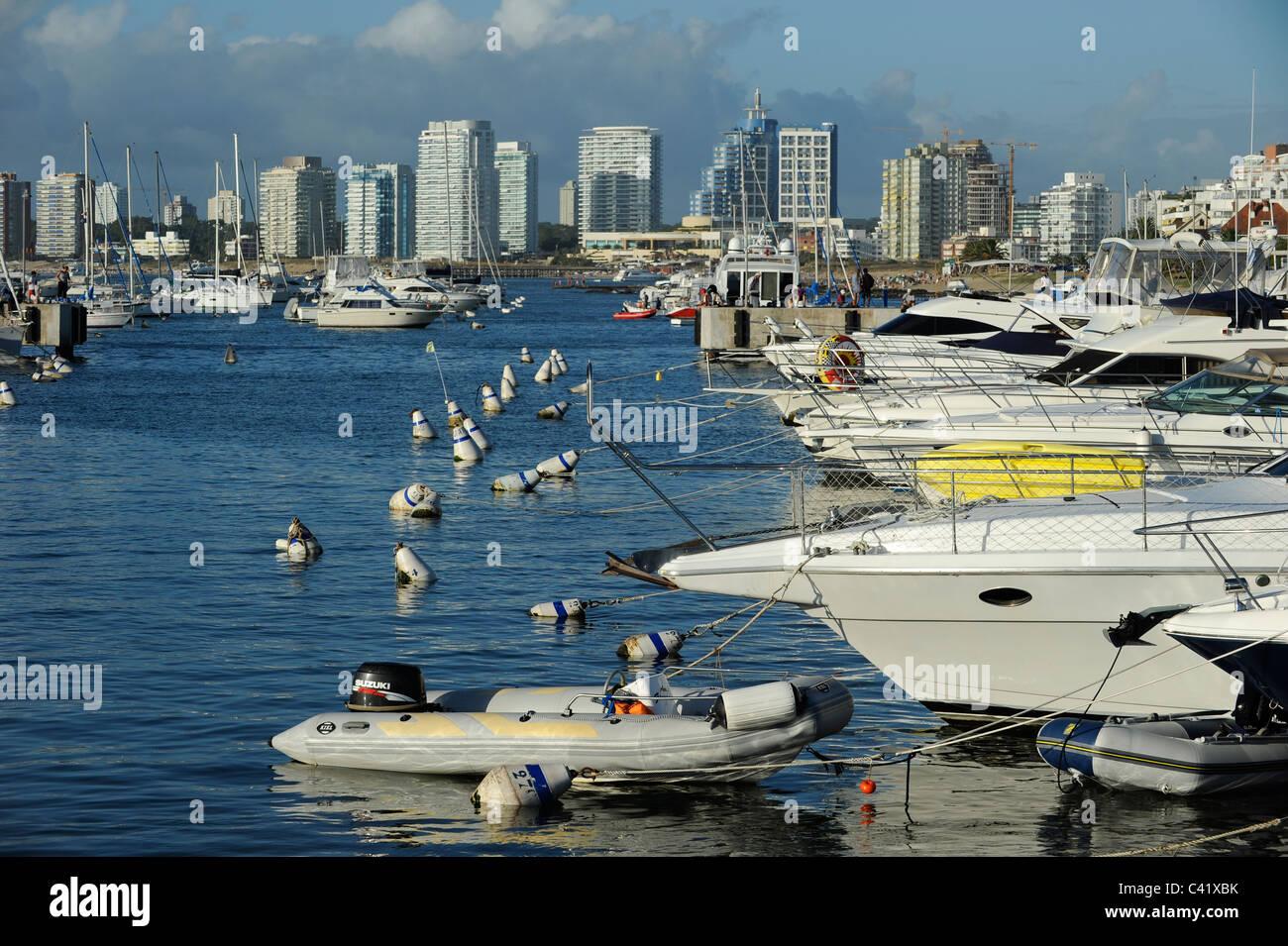 URUGUAY , sea bath Punta del Este, port with yacht - Stock Image