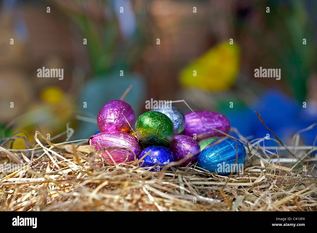 colored eggs in a nest of straw - Stock Image