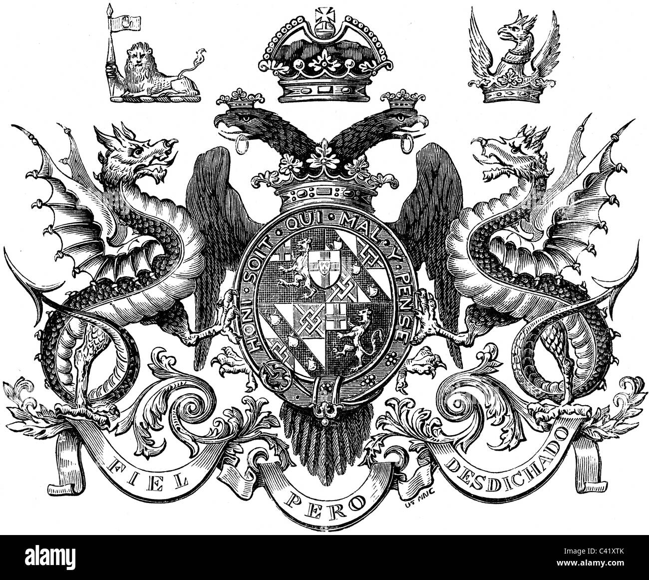 19th Century book illustration, taken from 9th edition (1875) of Encyclopaedia Britannica, of Coat Of Arms Dukes - Stock Image