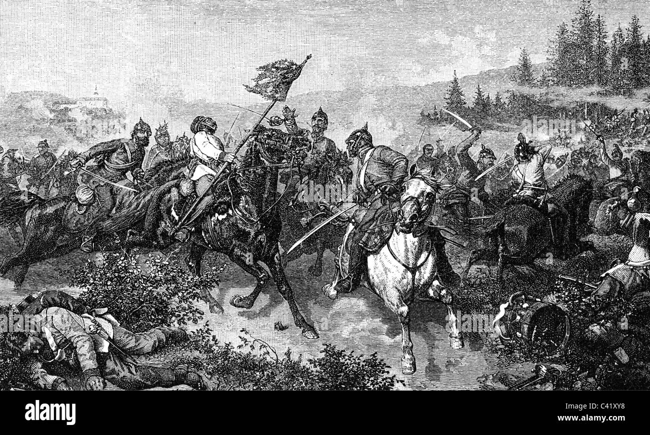 events, Austro-Prussian War 1866, Battle of Nachod, 27.6.1866, engagement between Austrian and Prussian cavalry, - Stock Image