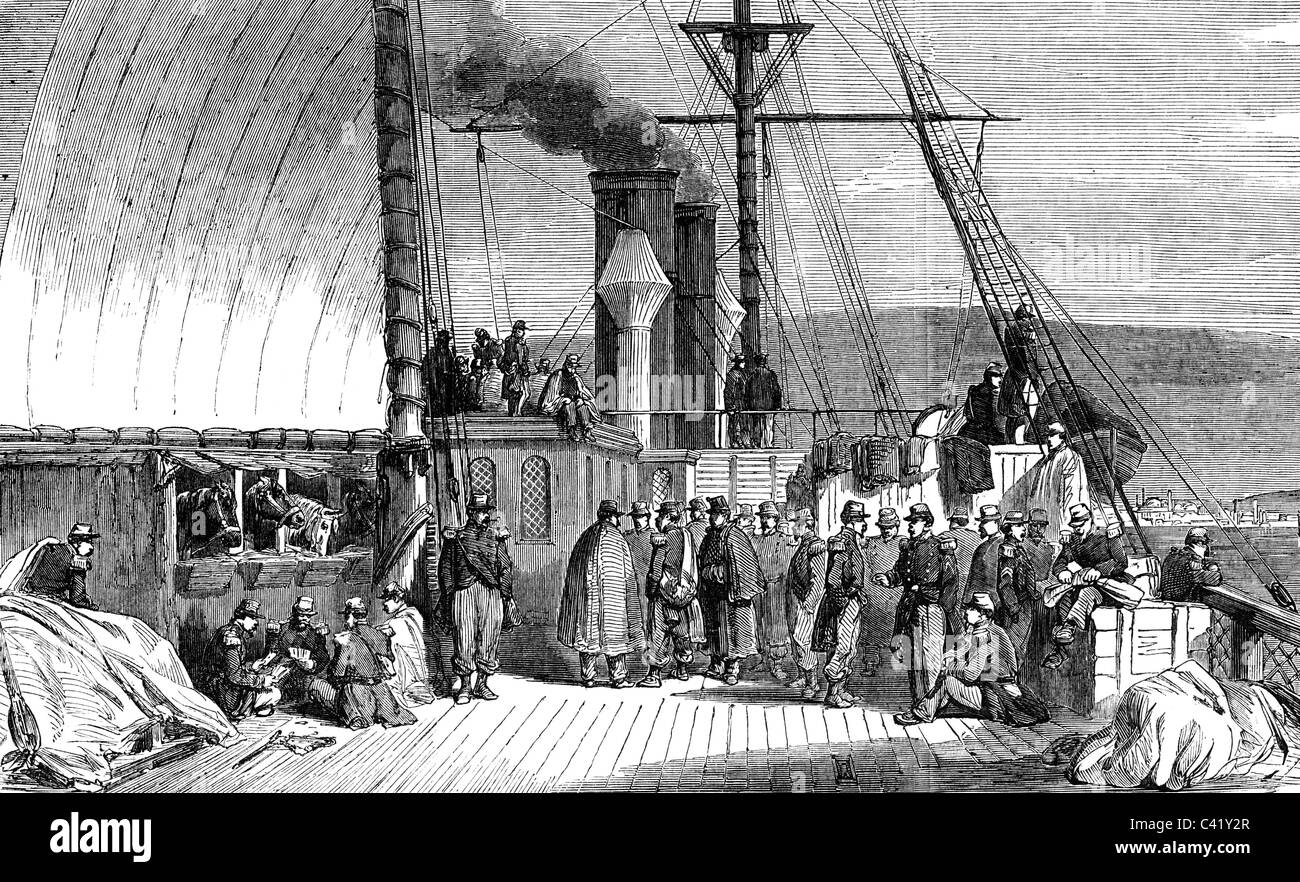 events, Crimean War 1853 - 1856, transport of French troops on the ship 'Euphrate' to the Crimean, wood - Stock Image