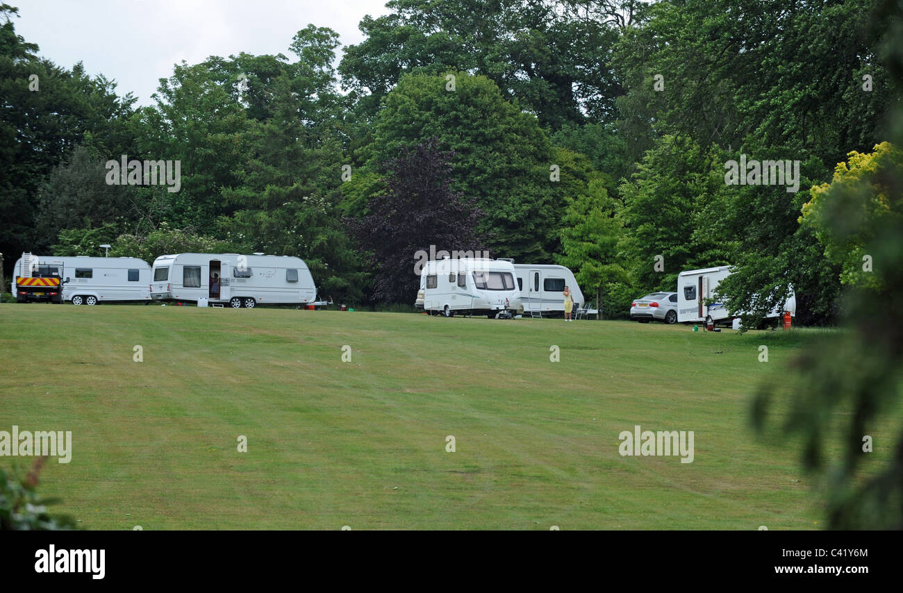 Travellers with their caravans and mobile homes that have illegally moved  on to Withdean Park Brighton UK - Stock Image