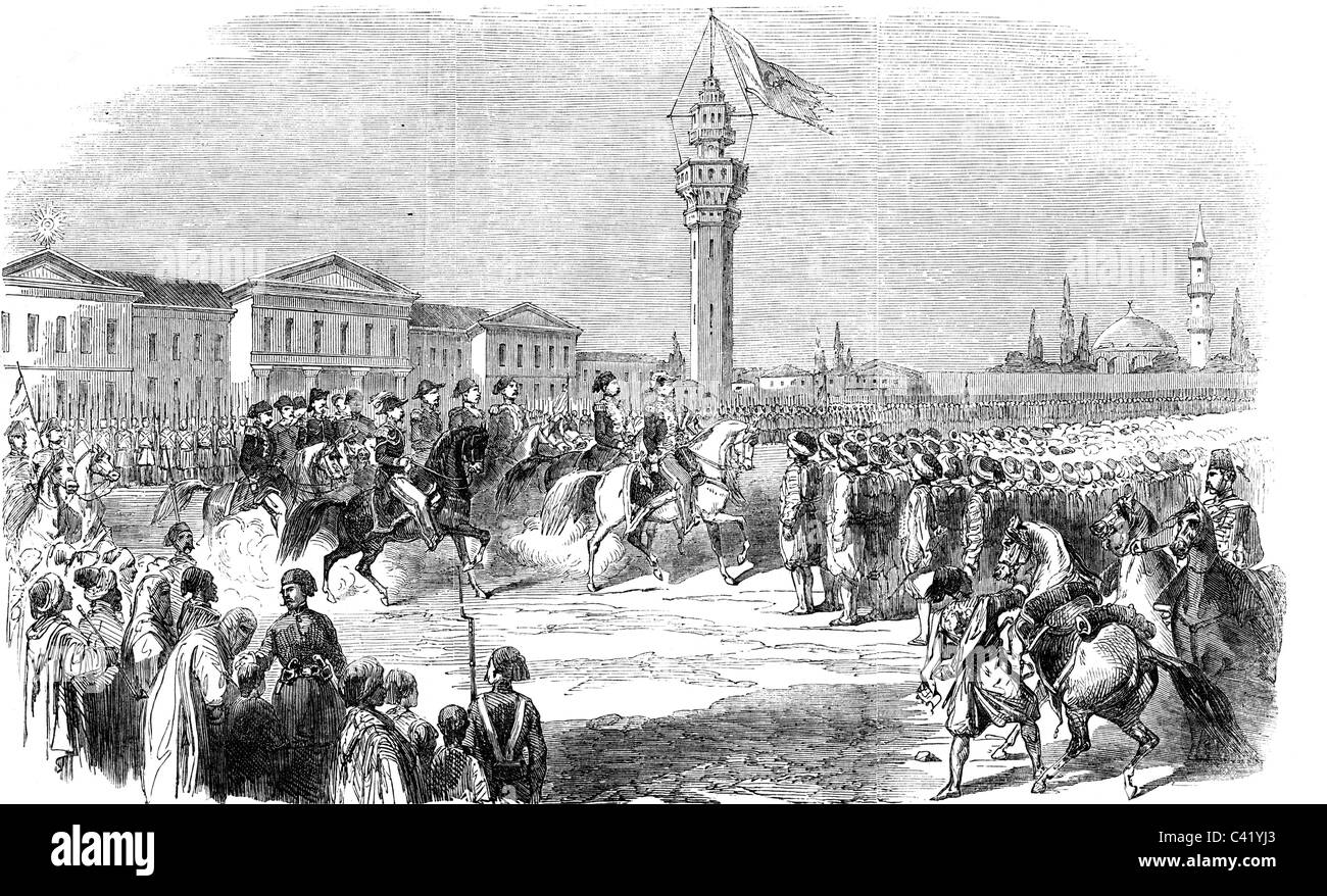 events, Crimean War 1853 - 1856, French general Achille Baraguey d'Hilliers is inspecting the Ottoman militia - Stock Image