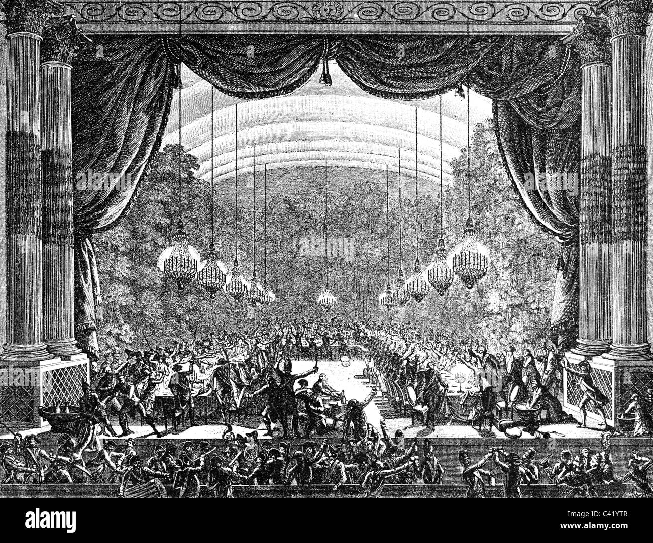 military, France, guard, cavalry, Garde du Corps du Roi, banquet in the hall of the Opera, Versailles, 1.10.1789, - Stock Image