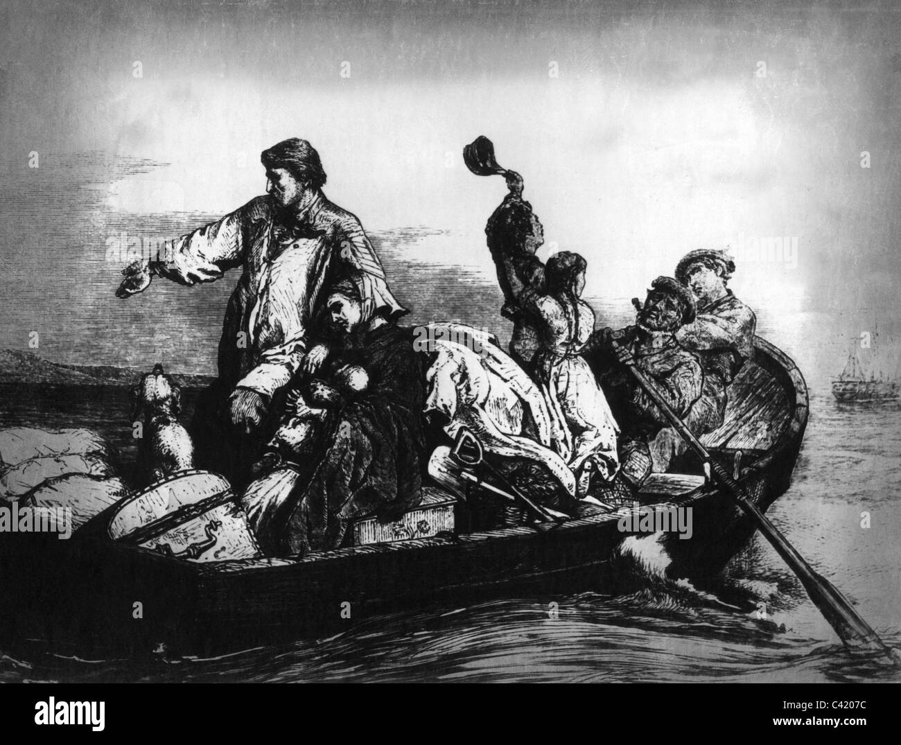 people, emigrant, emigrants, departure, German emigrants are rowed to the ship, wood engraving, 2nd half 19th century, - Stock Image