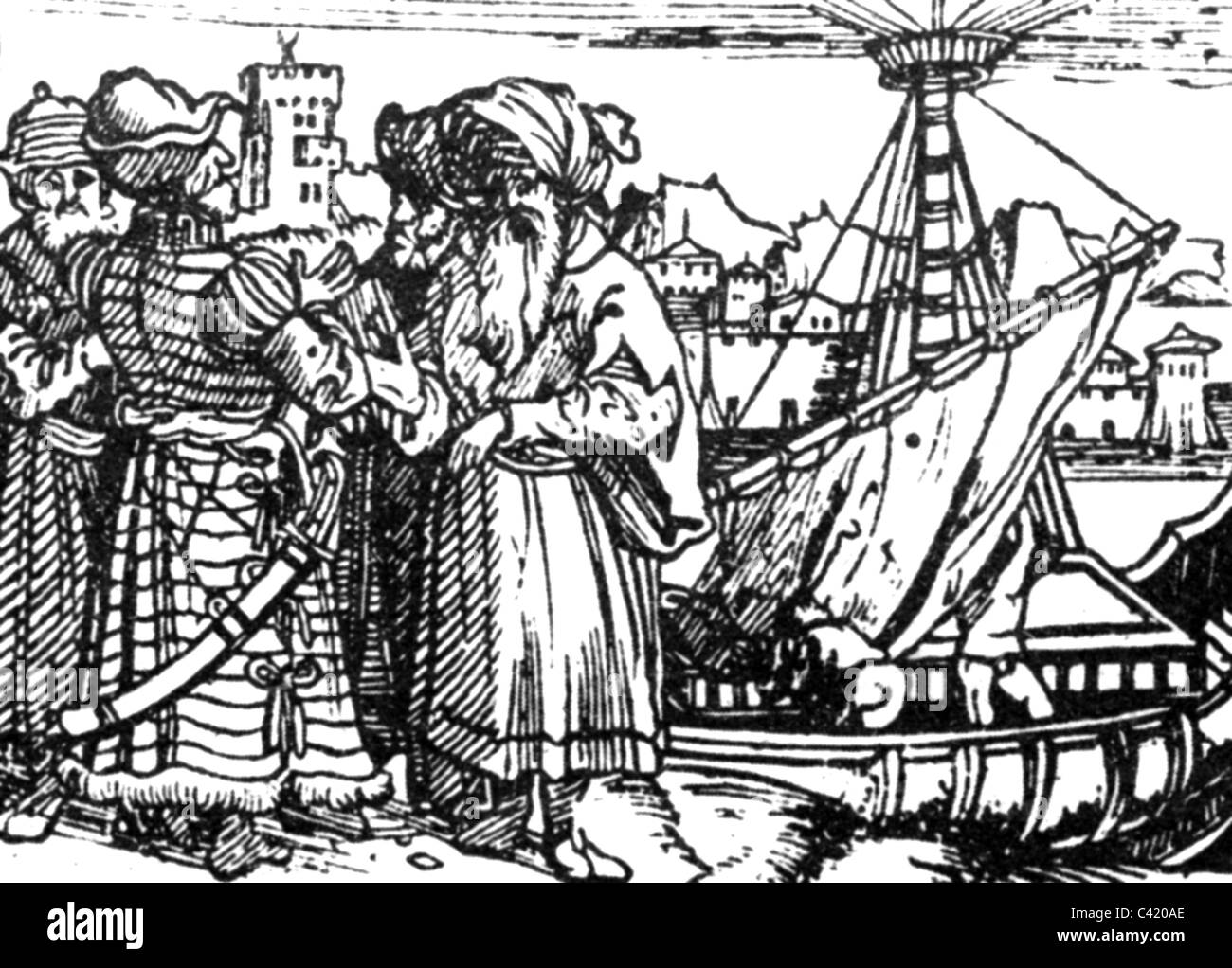 trade, traders, Portugese merchants in India, woodcut, Augsburg, 1515, Additional-Rights-Clearences-NA - Stock Image