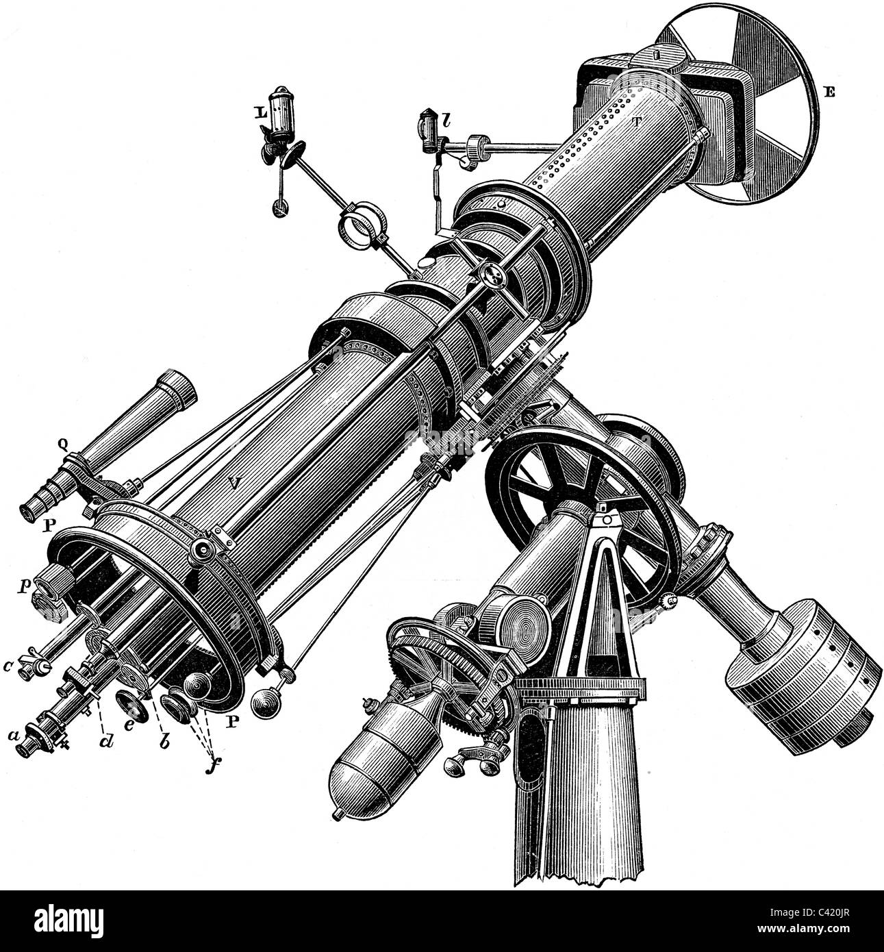 19th Century book illustration, taken from 9th edition (1875) of Encyclopaedia Britannica, of Telescope - Stock Image