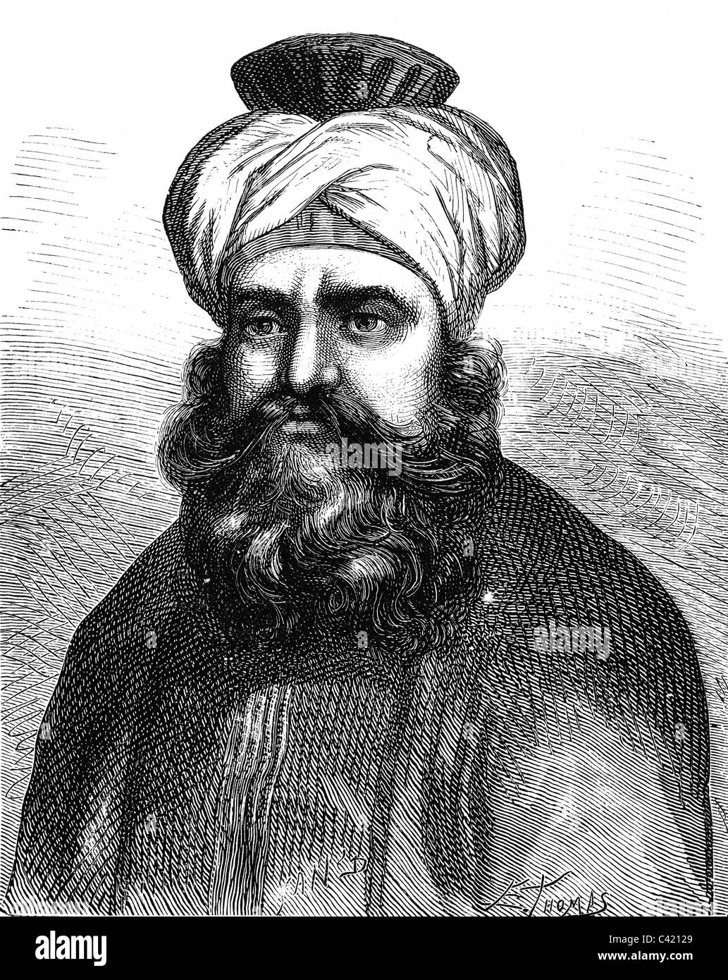 Murad Bey Muhammad, 1750 - 7.4.1801, Emir of Mamluks, Duovir of Egypt 1778 - 1798, portrait, wood engraving, 19th - Stock Image