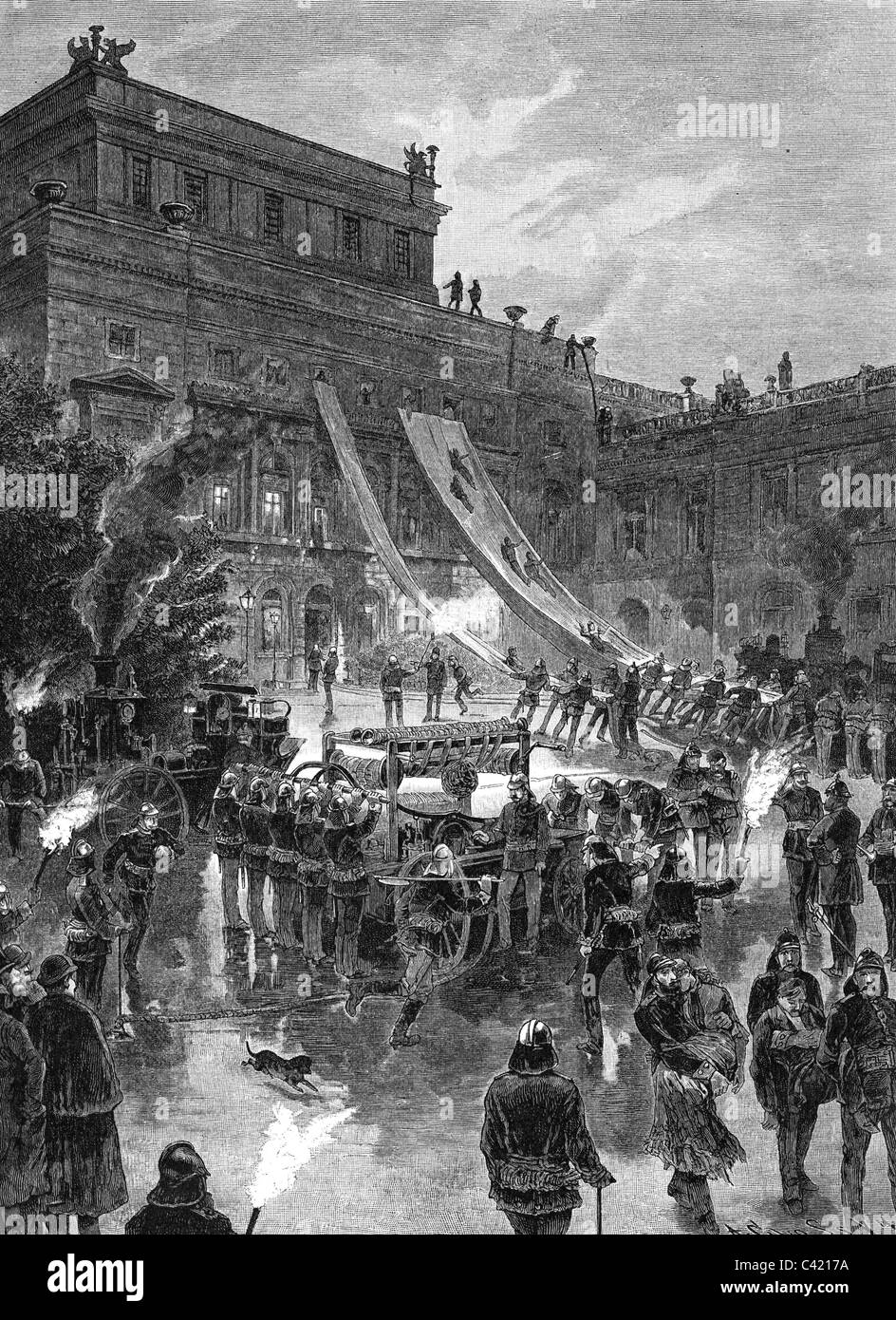 fire, fire service, fire exercise at Neue Theater in Leipzig, wood engraving after drawing by Paul Wagner, 'Illustrierte - Stock Image