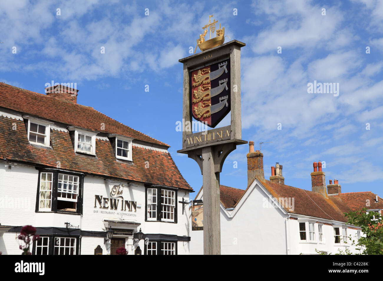 Winchelsea Town sign, East Sussex, England, UK, GB - Stock Image