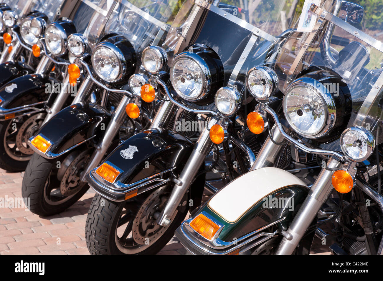 Harley Davidson Police motorcycles in a line for sale at the Bruce Rossmeyer Harley Davidson Center in Daytona, - Stock Image