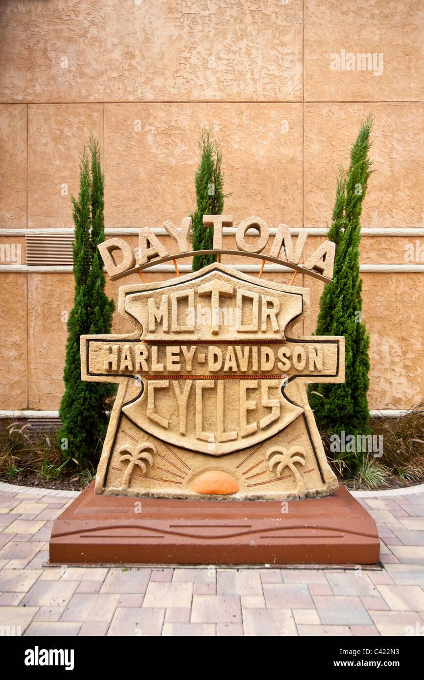 Harley Davidson logo sculpture at the Bruce Rossmeyer Harley Davidson Center in Daytona, Florida, USA - Stock Image