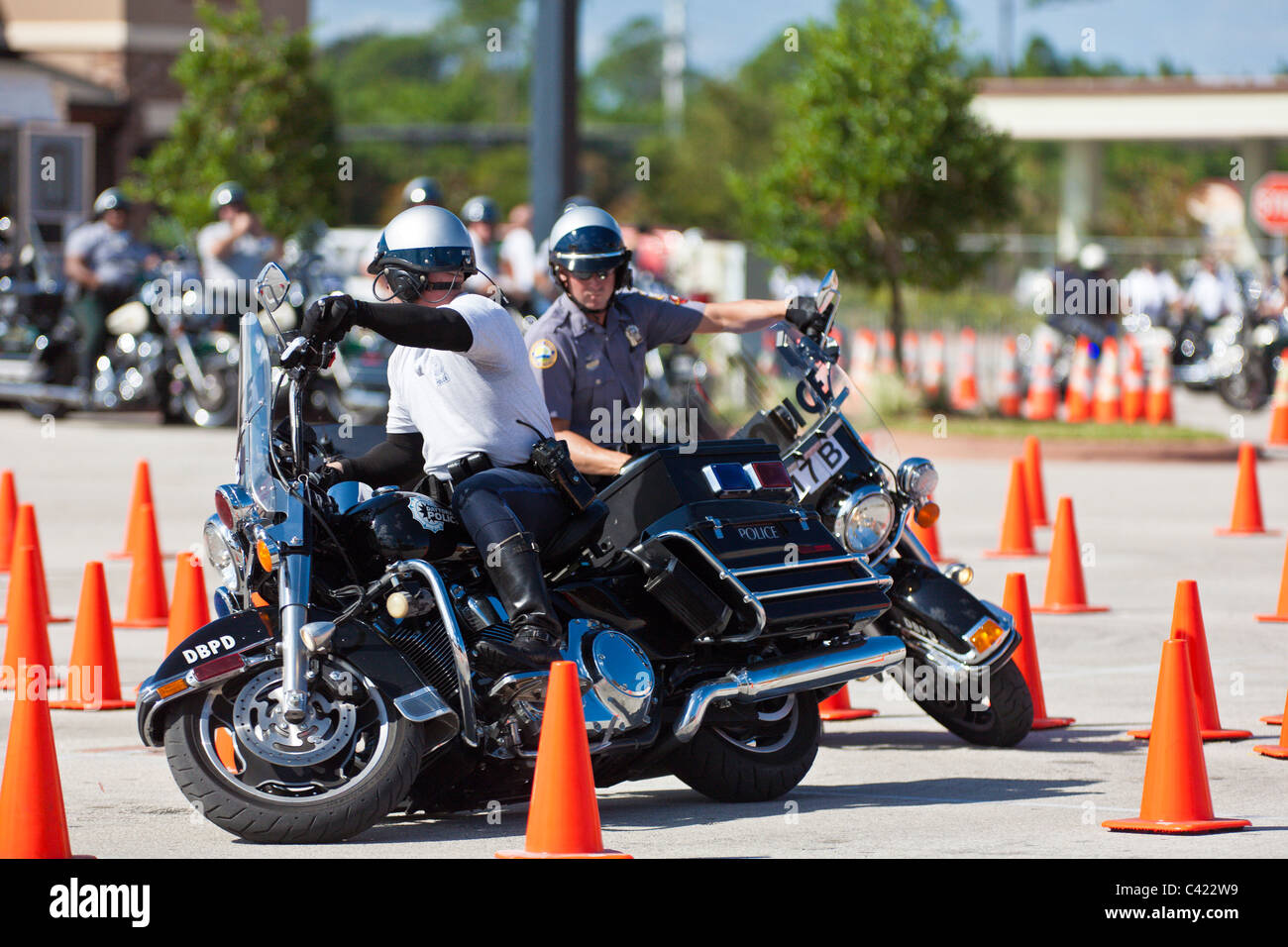 Law Enforcement Motorcycle Teams Compete On A Cone Course At The