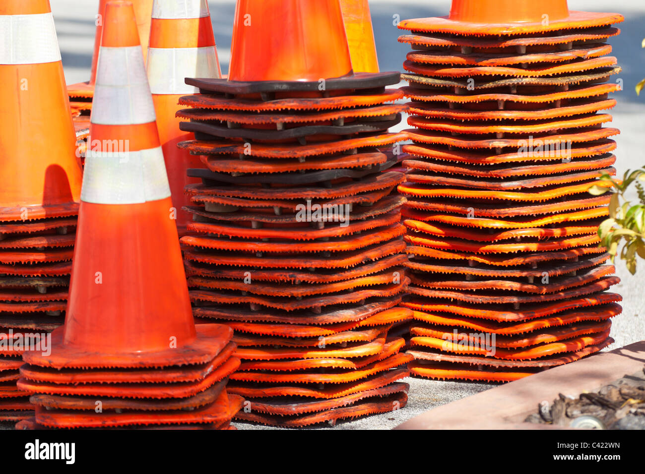 Stack of traffic cones in Florida, USA - Stock Image