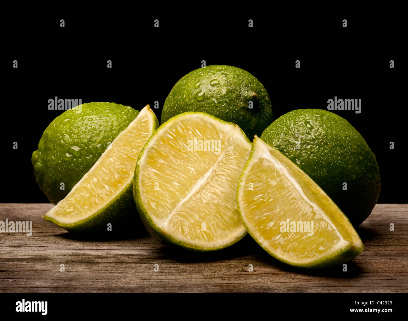 Fresh lime with slices. Food Stock Photo