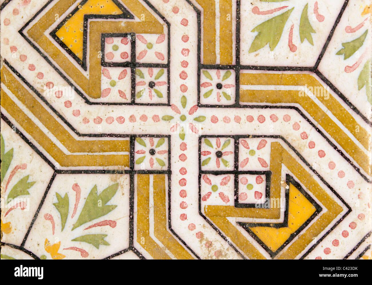 arab traditional ceramic floor tile flower design antique Stock ...