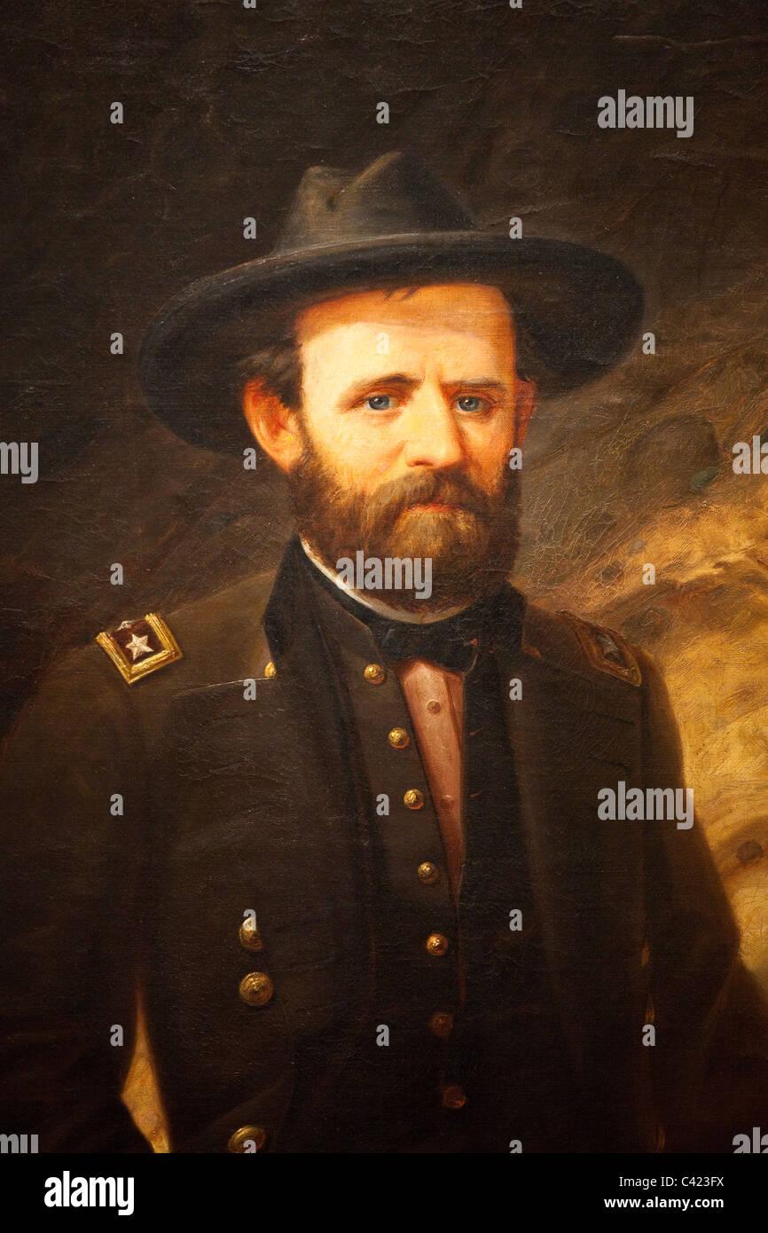 1865 Portrait of Ulysses S Grant by Ole Peter Hansen Balling, National Portrait Gallery, Washington DC - Stock Image