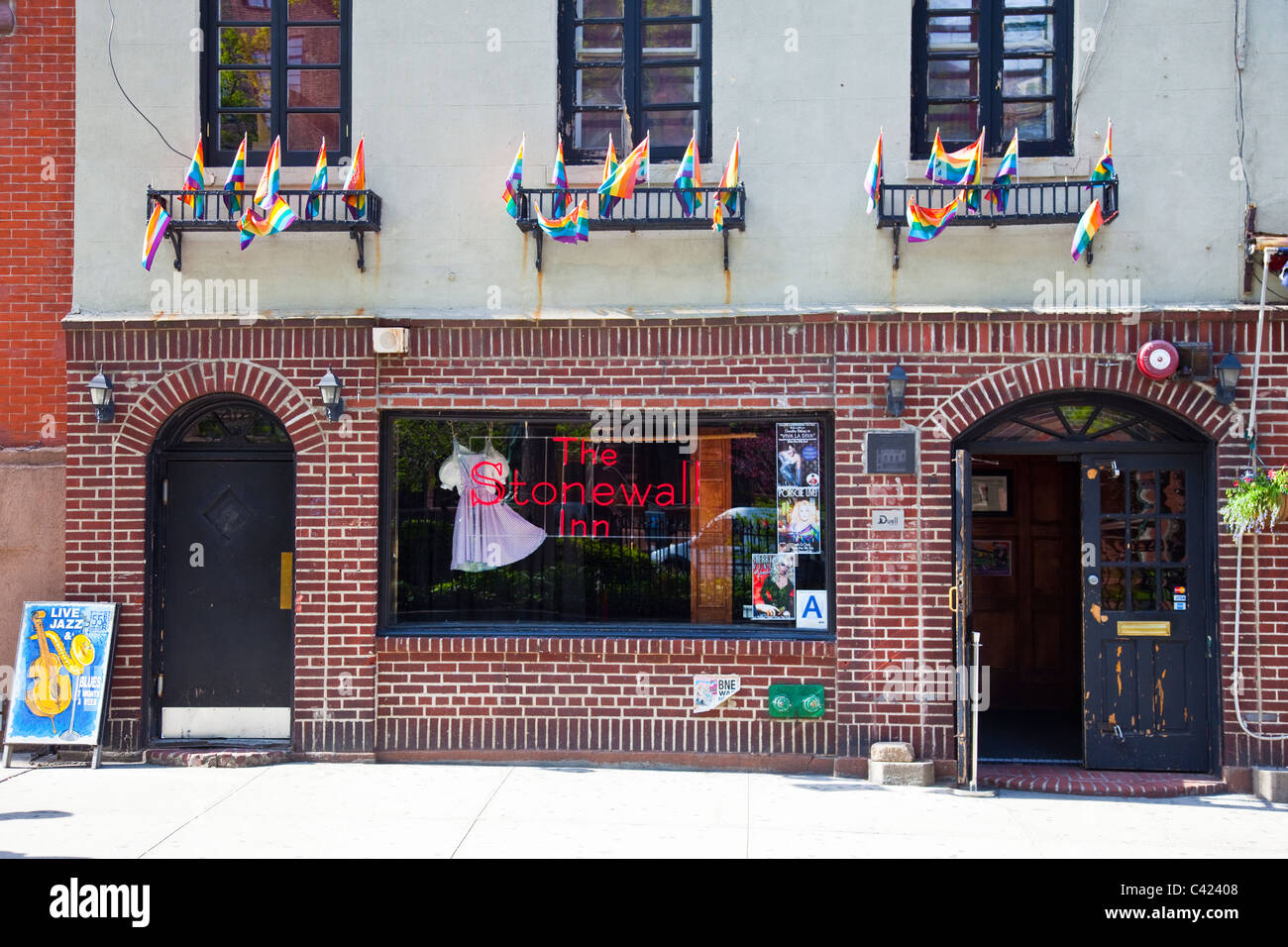 The Stonewall Inn historic gay bar in Greenwich Village, Manhattan, New York - Stock Image