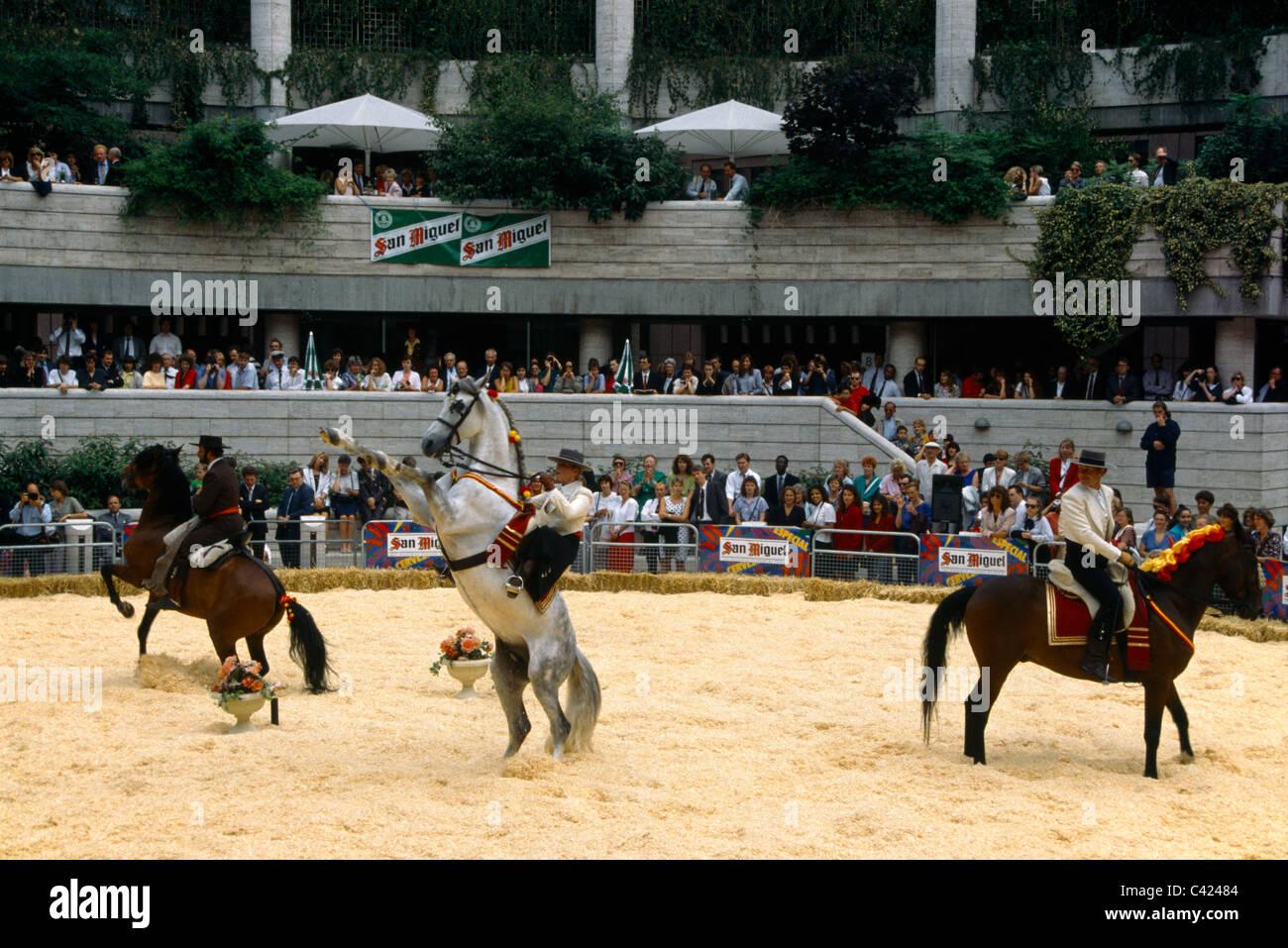 Spanish Riding School Performance In London Riders On Horseback - Stock Image