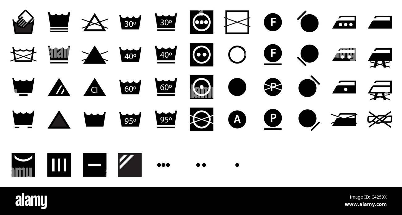 Complete Set Of International Laundry Symbols Dark Stock Photo