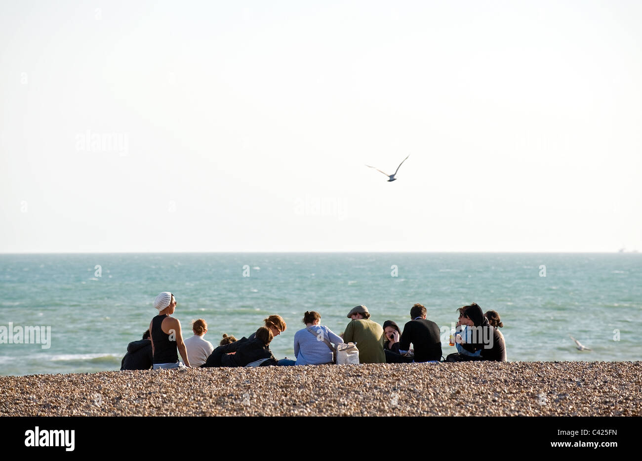 A group of people sitting on the beach at Brighton.  Photo by Gordon Scammell - Stock Image